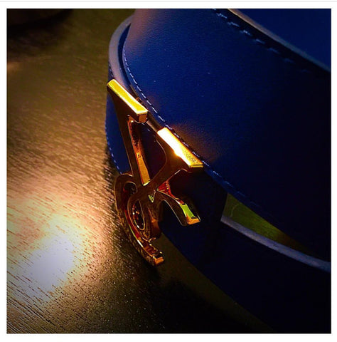 VC 24K Gold Buckle with Royal Blue & Navy Reversible Leather Belt Strap