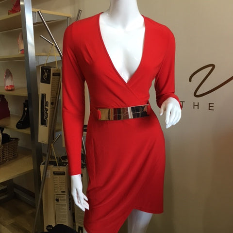 Signature Belted Red Dress