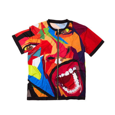 Zippered Screaming Face Short Sleeve Tee