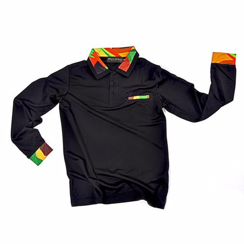 Slim Fit, Long Sleeve Polo - Black
