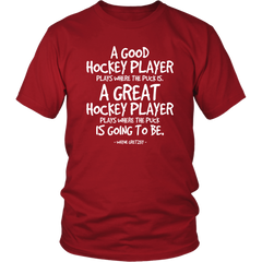 A Good Hockey Player, Plays Where The Puck Is. A Great Hockey Plays Where The Puck Is Going To Be.