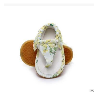 Yellow Floral Moccasin Sandals