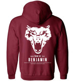 Benjamin Full Zip-Up Hoodie (Unisex and Youth) White Letter