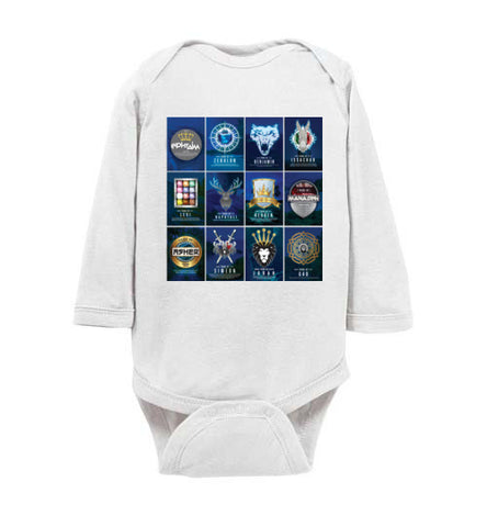 All 12 Tribes Logo Long Sleeve Onesie