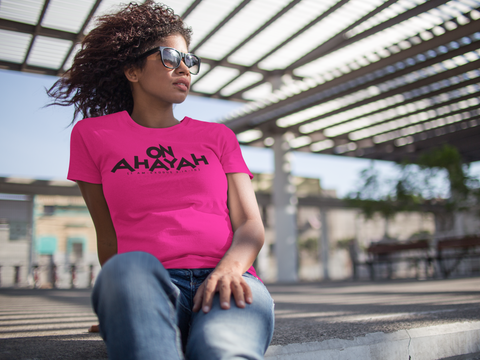 """On Ahayah""  Ladies Short Sleeve (Black Letter)"