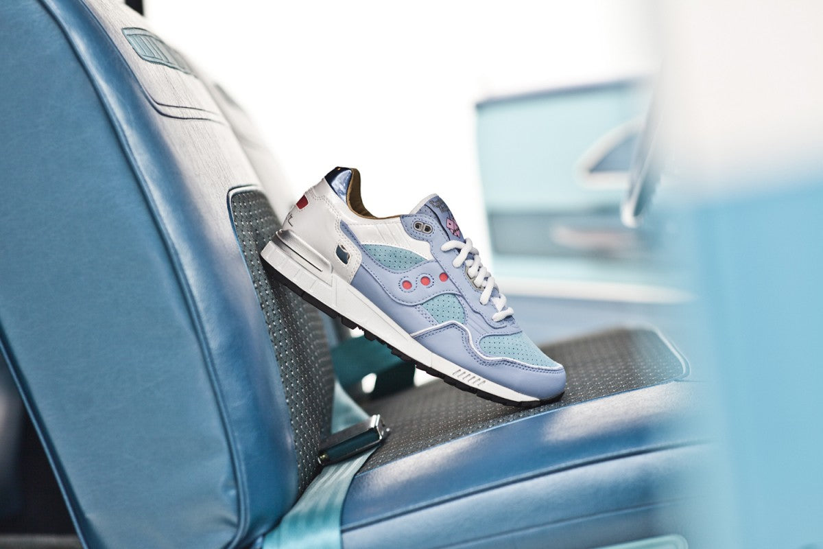 c1388779f A nod to 50s Classic cars sees a light blue suede and nubuck upper with red  and silver accents