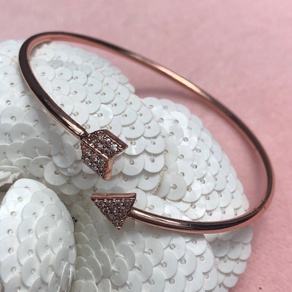 Cubic Zirconia Rose Gold Arrow Bangle