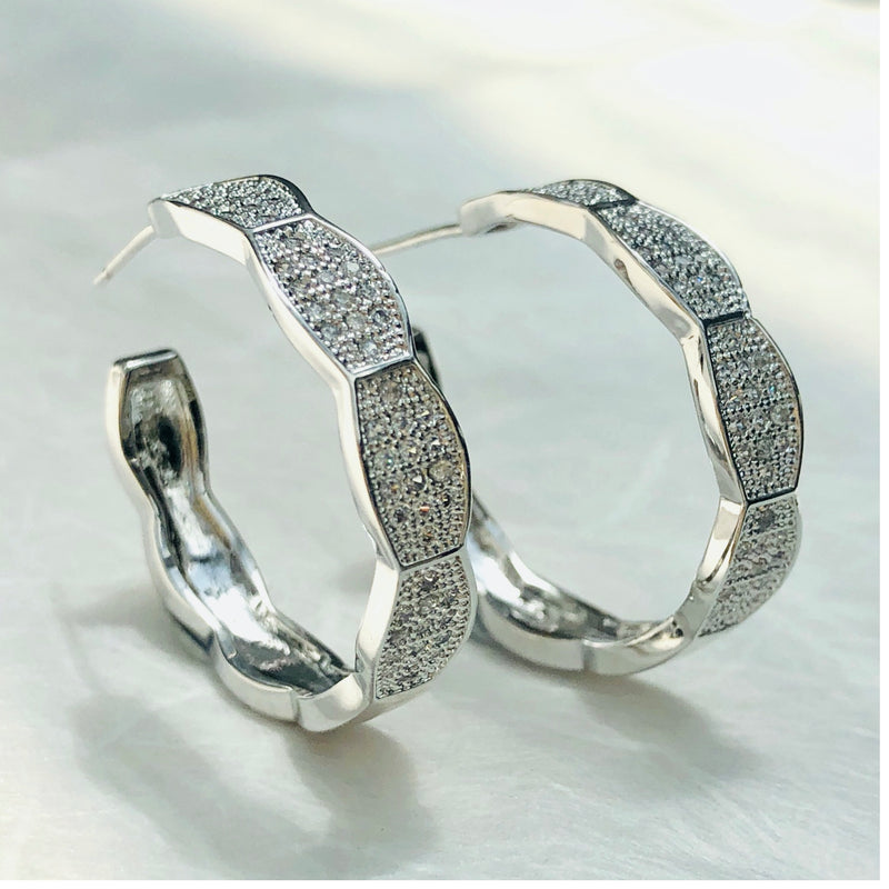 Cubic Zirconia Silver Hoop Earrings