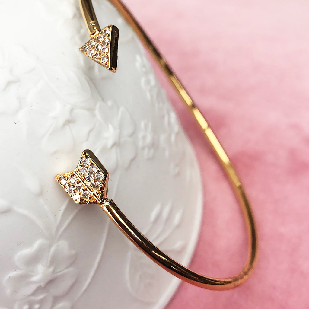 Pavé Cubic Zirconia Gold Arrow Bangle