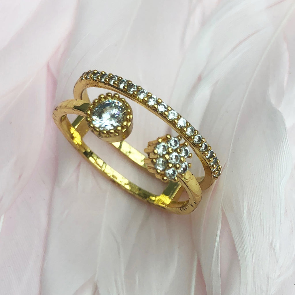Gold Rhodium Plated Cubic Zirconia Double Band Ring