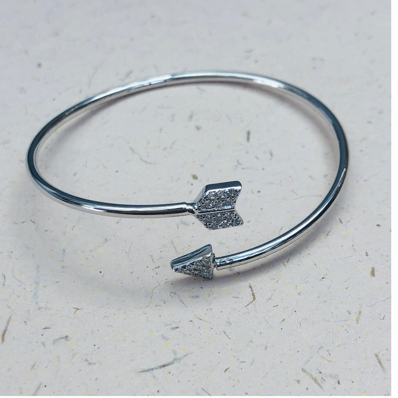 Silver Arrow Bangle with Pavé Cubic Zirconia Detail