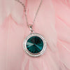 Platinum Plated Round Swarovski Crystal Elements Pendant