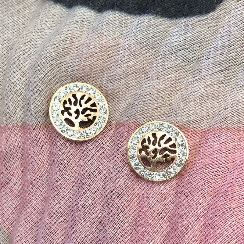 Cubic Zirconia Rose Gold Plated Stainless Steel Tree of Life Stud Earrings