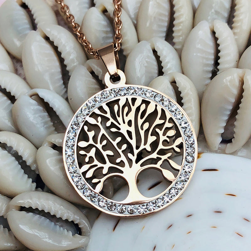 Cubic Zirconia Rose Gold Plated Stainless Steel Tree of Life Round Pendant