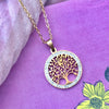 Cubic Zirconia Gold Plated Stainless Steel Tree of Life Round Pendant