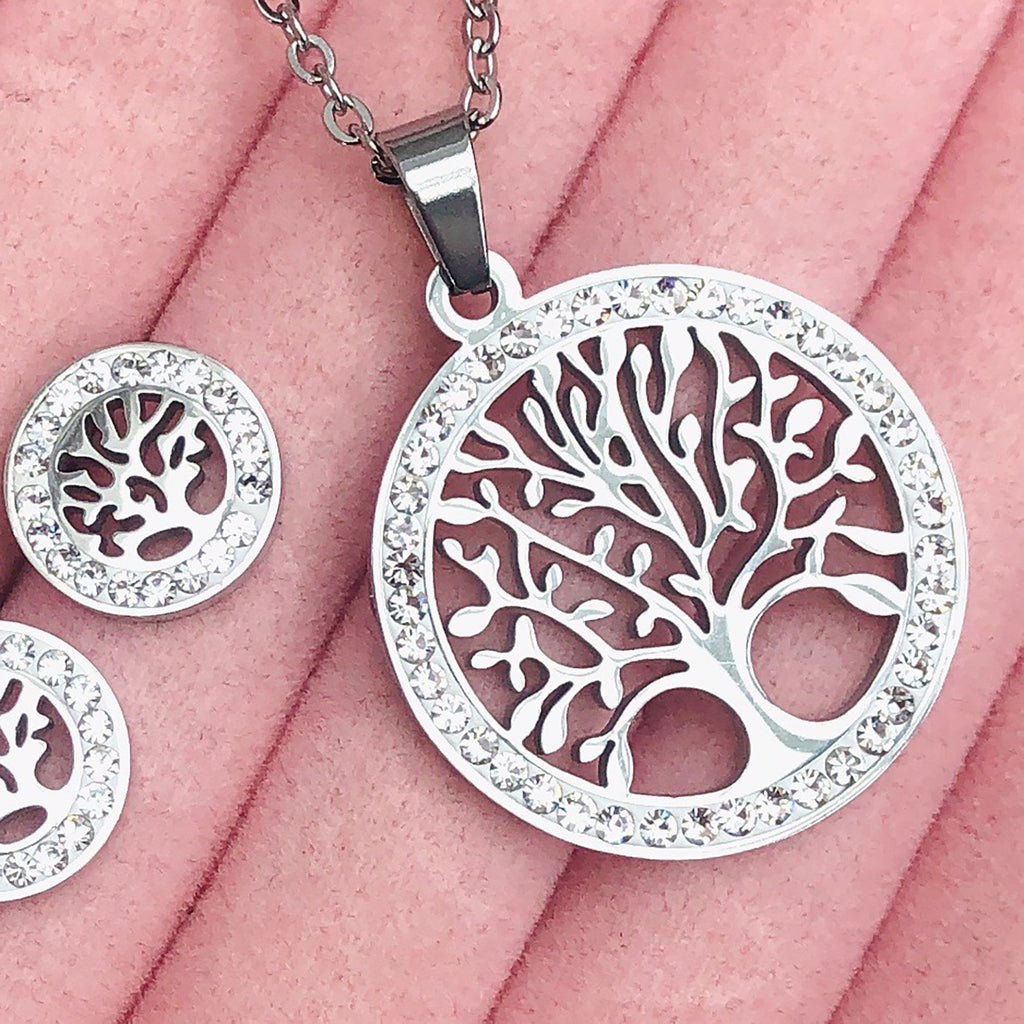 Cubic Zirconia Stainless Steel Tree of Life Stud Pendant