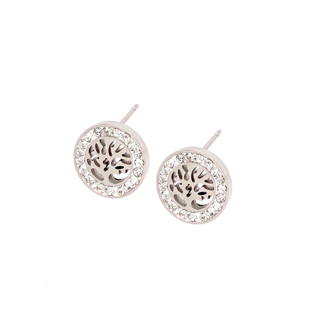 Cubic Zirconia Stainless Steel Tree of Life Stud Earrings