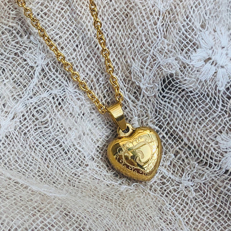 Gold Plated Stainless Steel Heart Shaped Engraved Pendant
