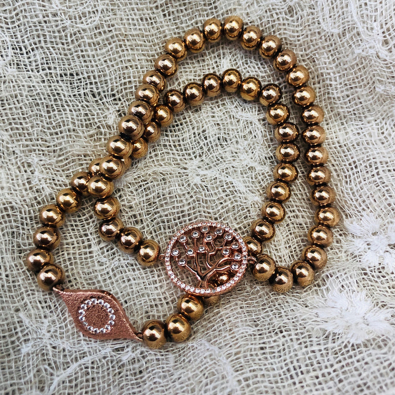 Rose Gold Plated Stainless Steel & Cubic Zirconia Twin Set of Tree of Life Bracelets