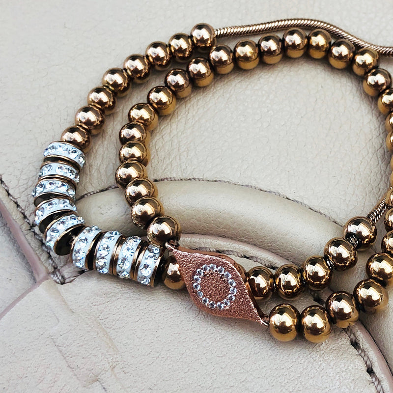 Rose Gold Plated Stainless Steel & Cubic Zirconia Twin Set of Evil Eye Bracelets