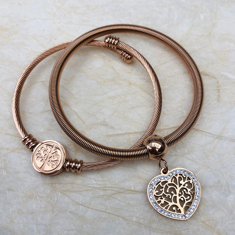 Twin Set of Rose Gold Stainless Steel Expandable Bangles with Cubic Zirconias