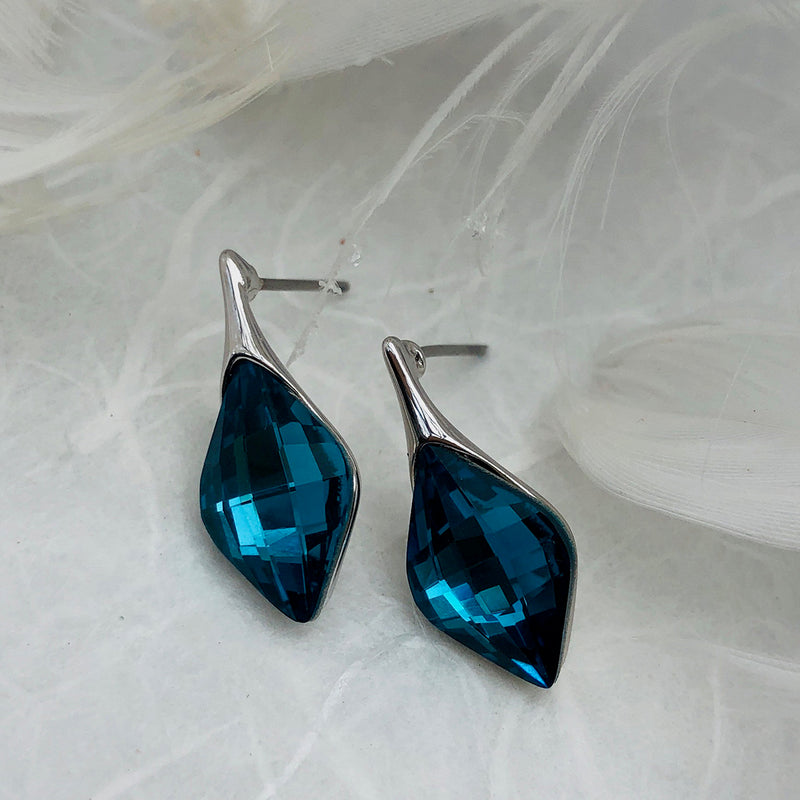Platinum Plated Aqua Cubic Zirconia Earrings
