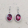 Platinum Plated Pink Cubic Zirconia Drop Earrings
