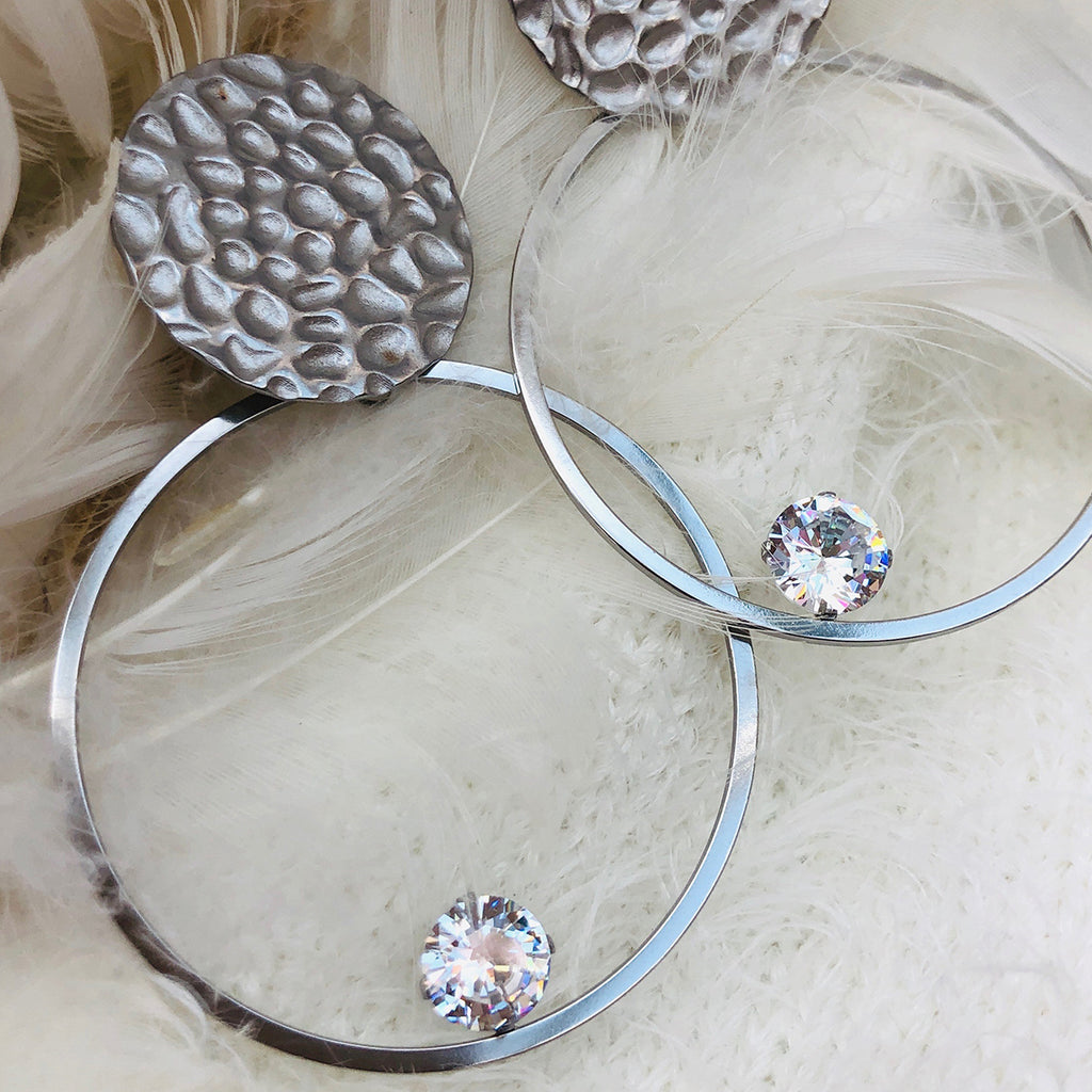 Cubic Zirconia Stainless Steel Hoop Earrings