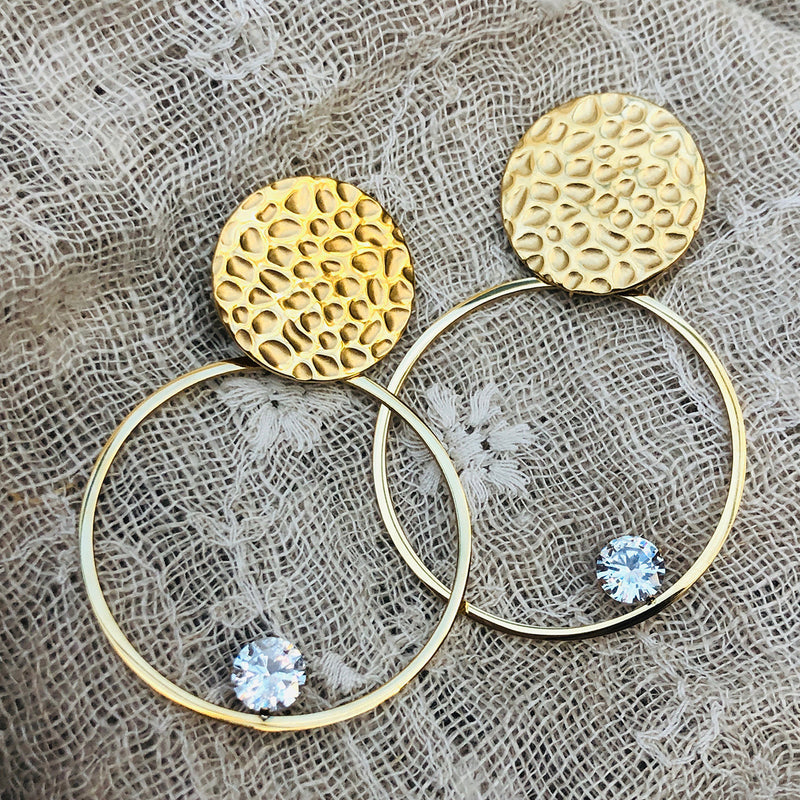 Cubic Zirconia Gold Plated Stainless Steel Hoop Earrings