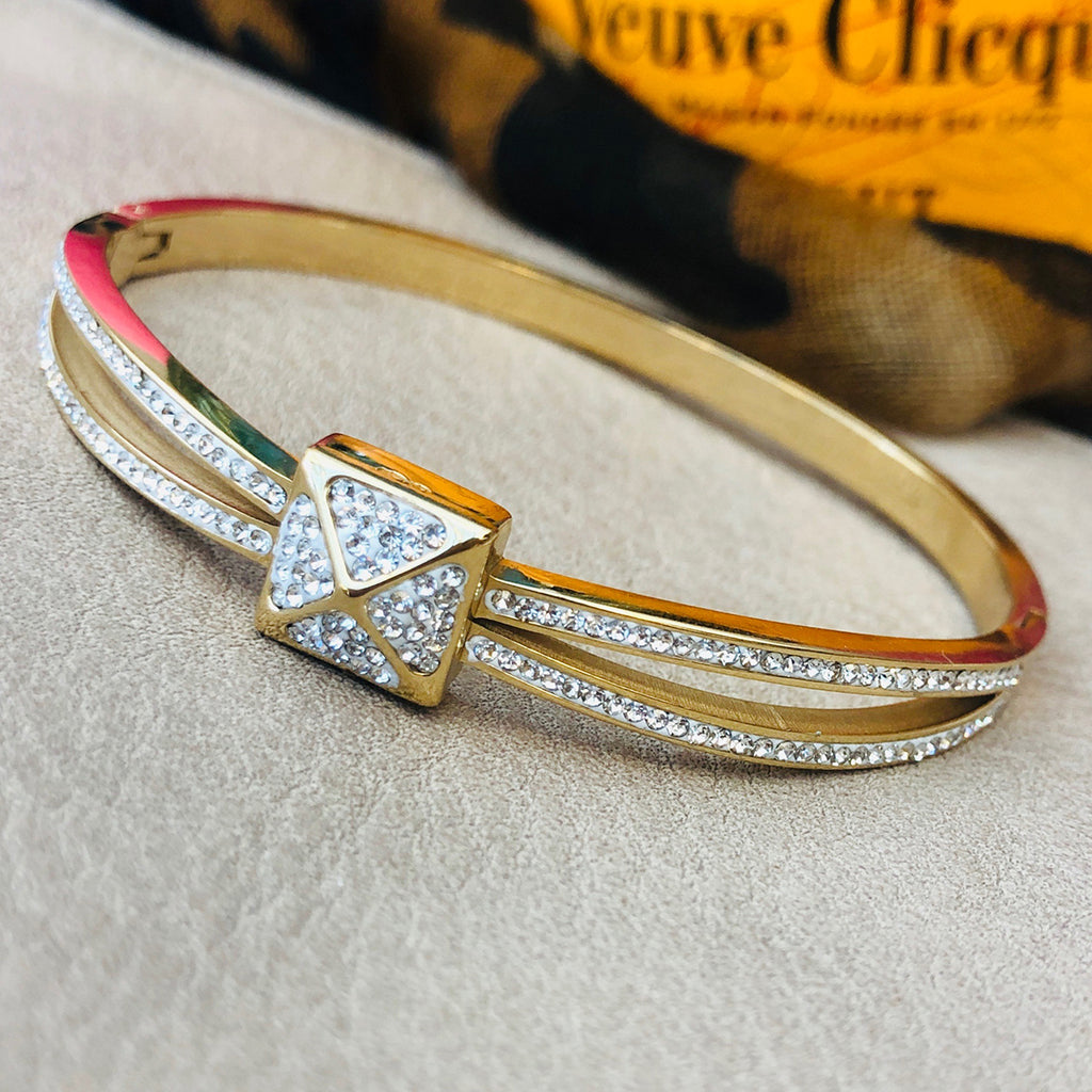 Cubic Zirconia Gold Plated Stainless Steel Bangle