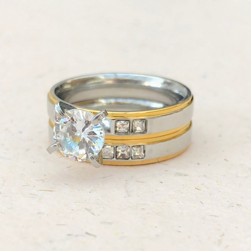 Cubic Zirconia Stainless Steel Ring Duo
