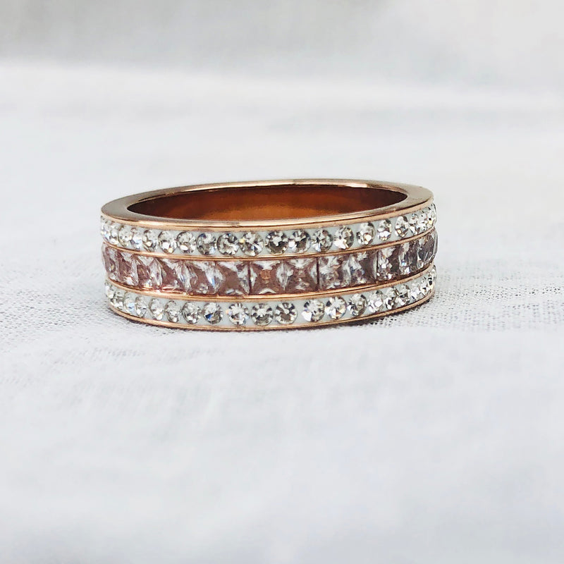 Rose Gold Plated Cubic Zirconia diamante Ring