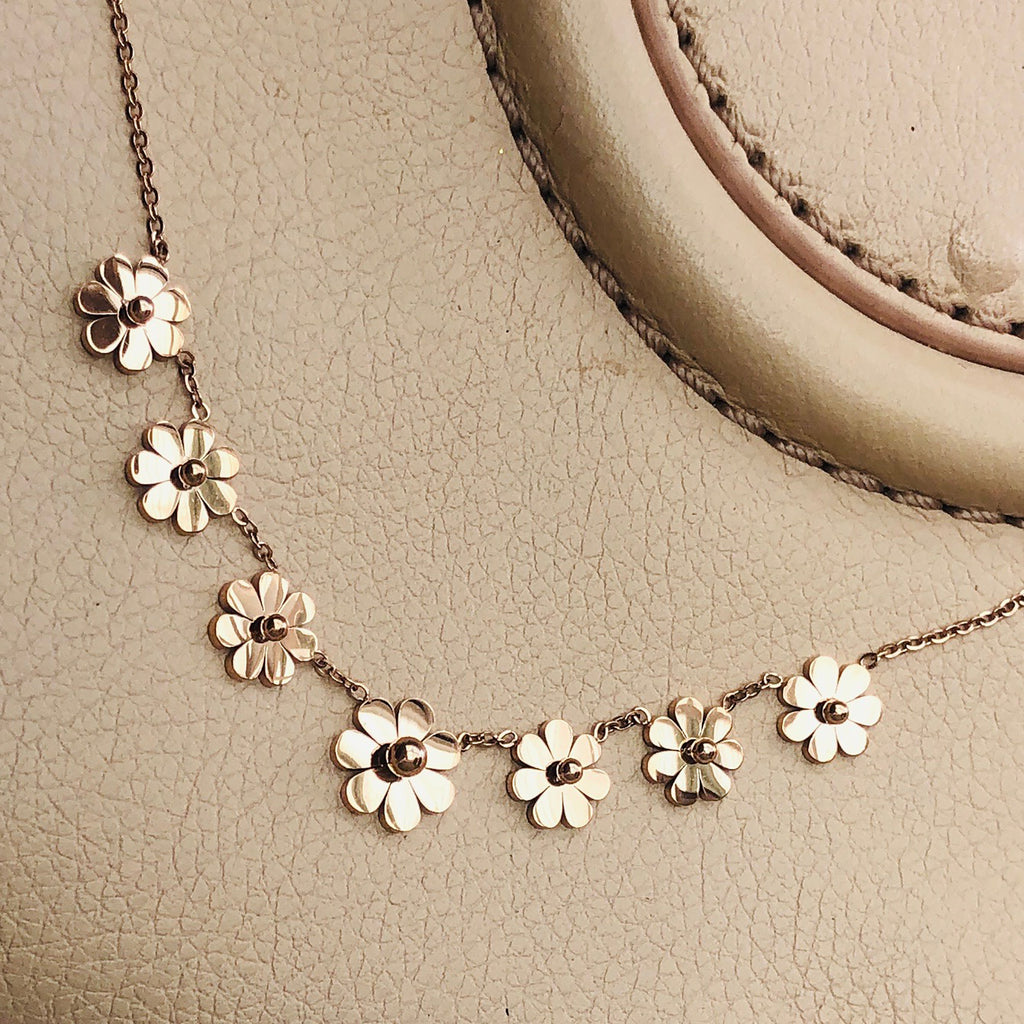 Rose Gold plated Stainless Steel Daisy Necklace