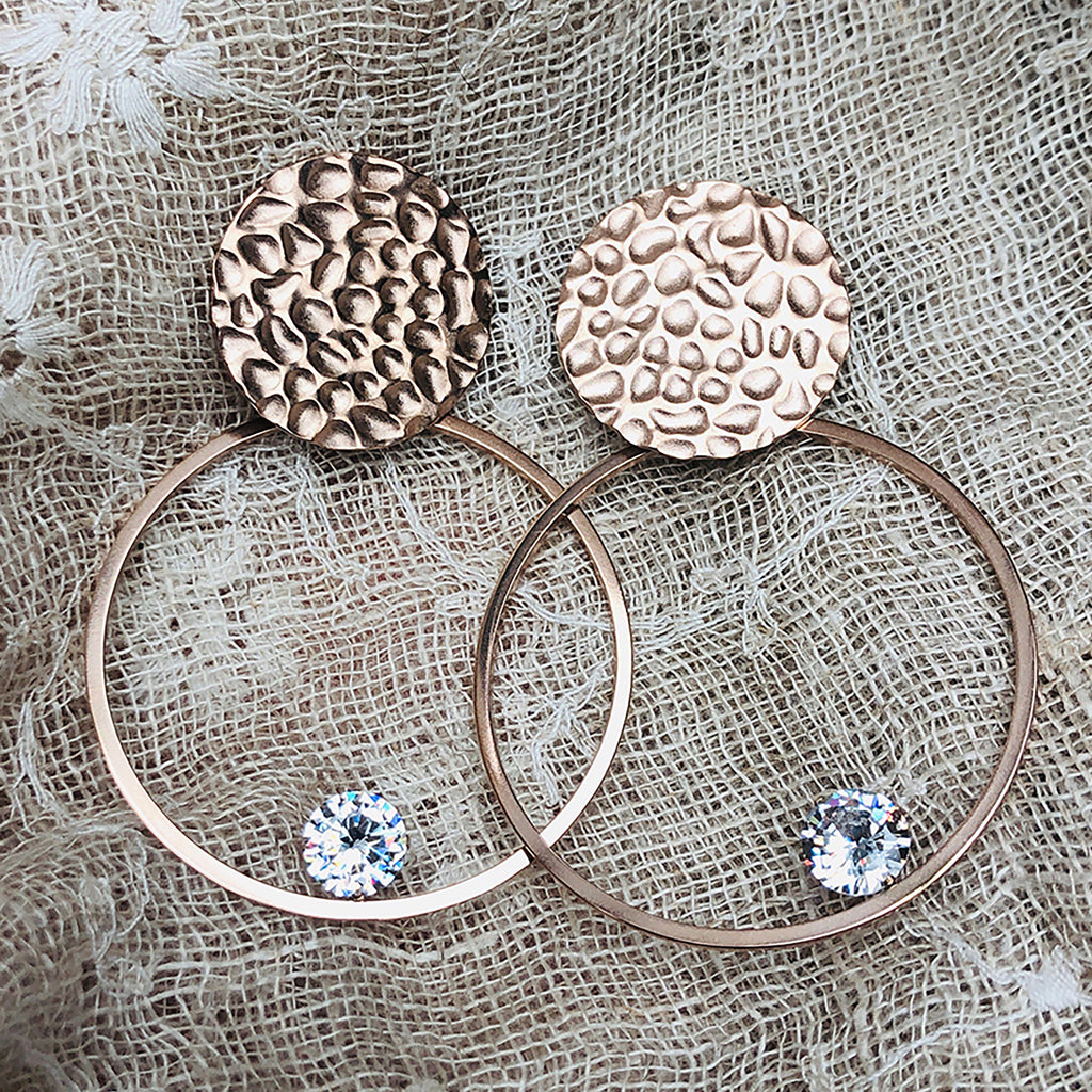 Cubic Zirconia Rose Gold Plated Stainless Steel Hoop Earrings