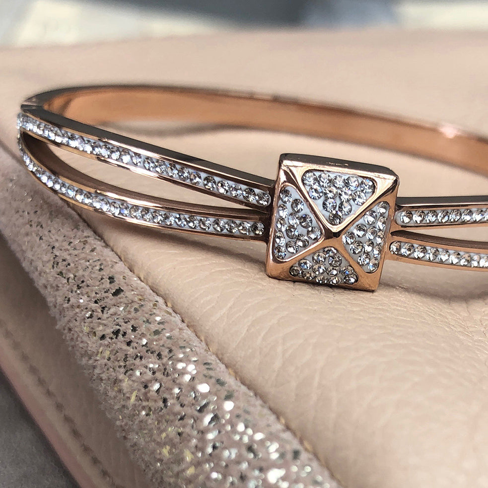 Cubic Zirconia Rose Gold Plated Stainless Steel Bangle