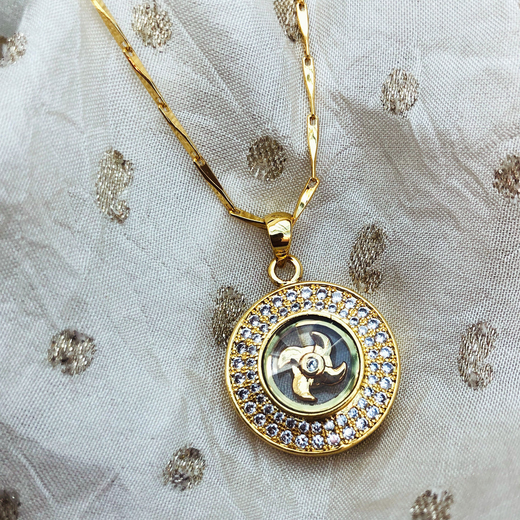 Diamanté Gold Plated Pendant