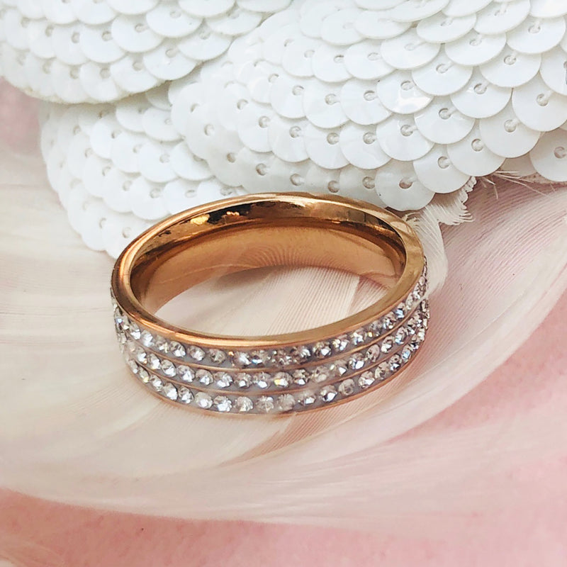 Rose Gold Plated Stainless Steel Pave Ring