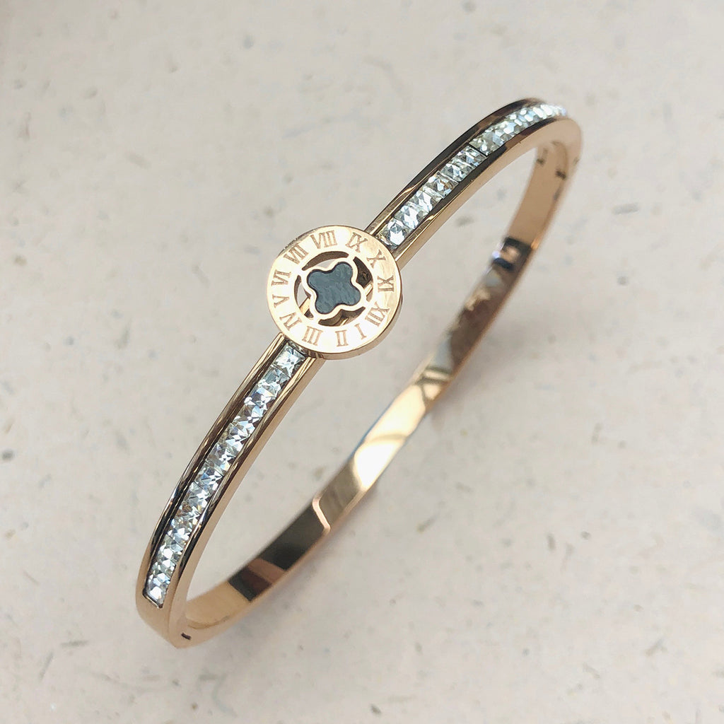 Rose Gold Plated Stainless Steel Crystal Bangle