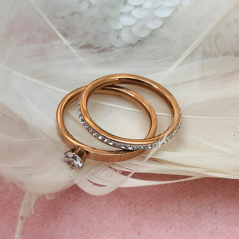 Rose Gold Plated Stainless Steel Wedding ring duo