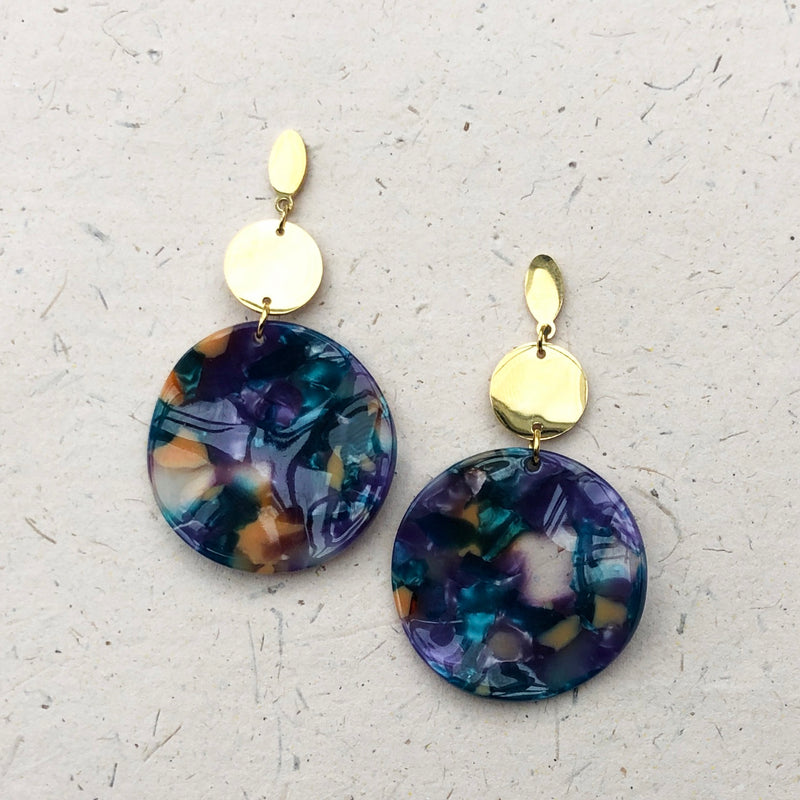 Gold Plated Large Lilac/Teal/Orange Tortoiseshell Drop Earrings