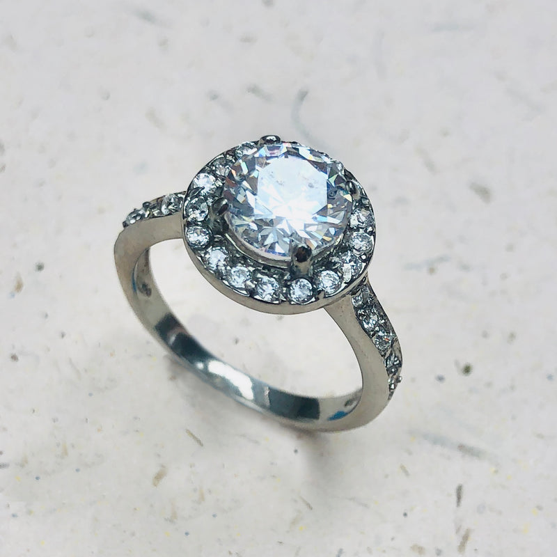 Stainless Steel Solitaire Cubic Zirconia Ring