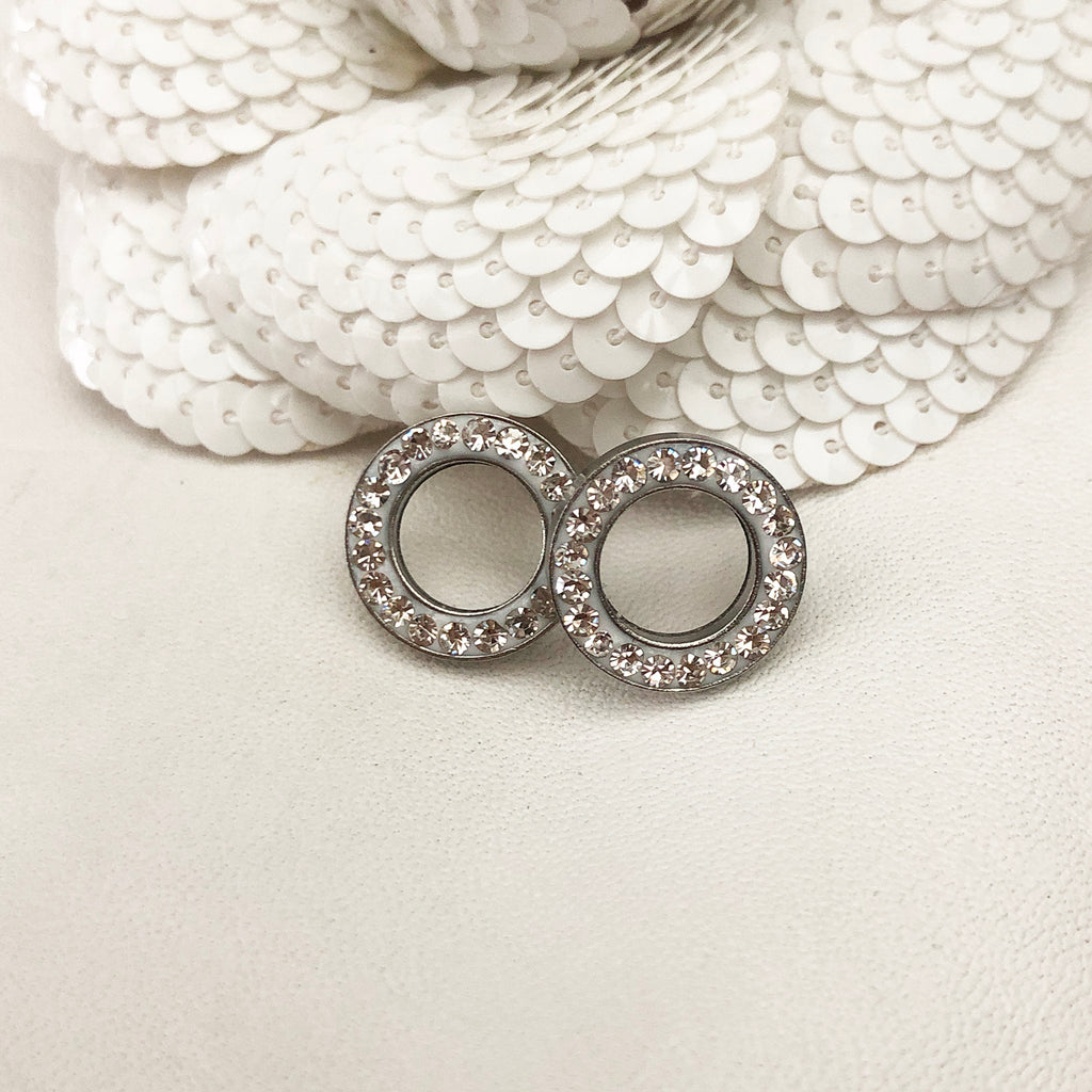 Stainless Steel & Crystal Halo Stud Earrings
