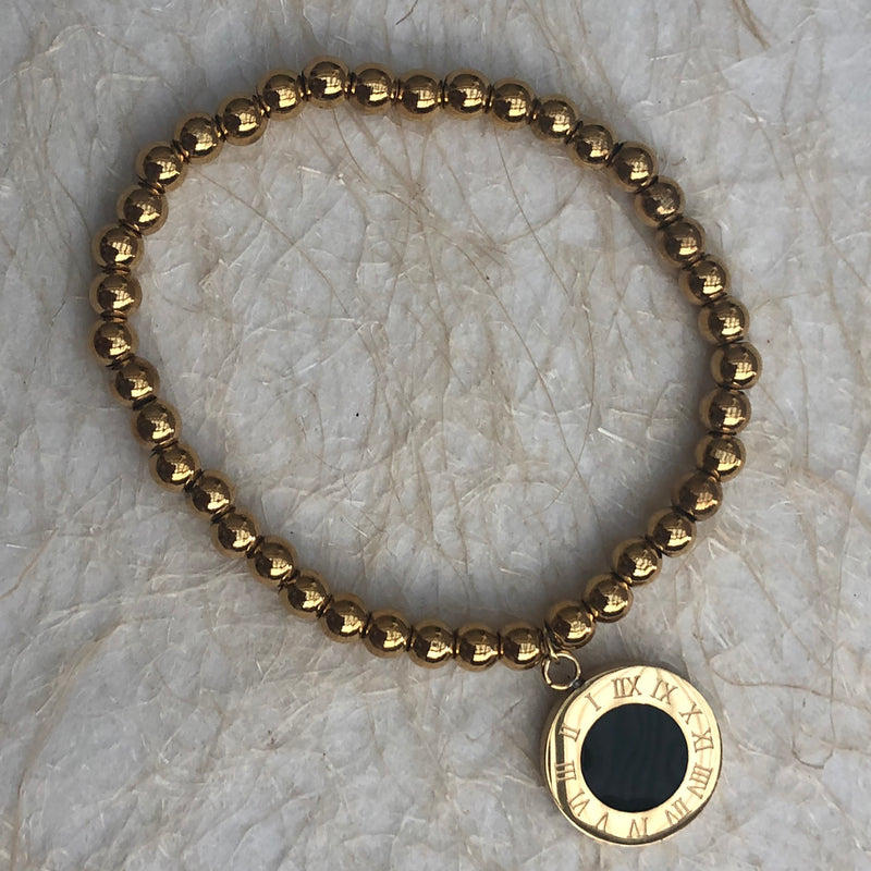 Beaded Gold Stainless Steel Bracelet