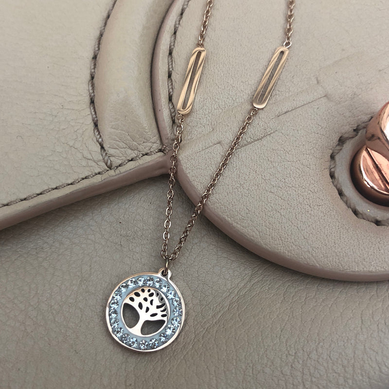Rose Gold Plated Tree of Life & Crystal Pendant