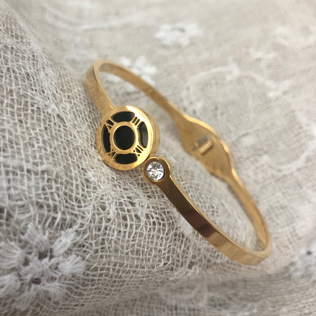 Gold Plated Bangle with Roman Numeral & Cubic Zirconia