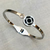 Stainless Steel Bangle with Roman Numeral and Cubic Zirconia