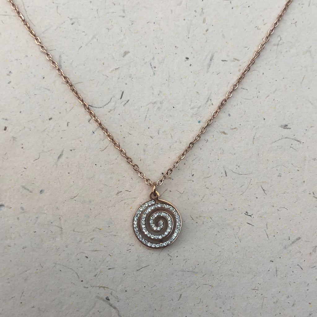 Rose Gold Plated 'Nautilus' Crystal Pendant