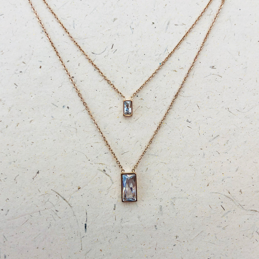 Rose Gold Plated Double Layered Necklace
