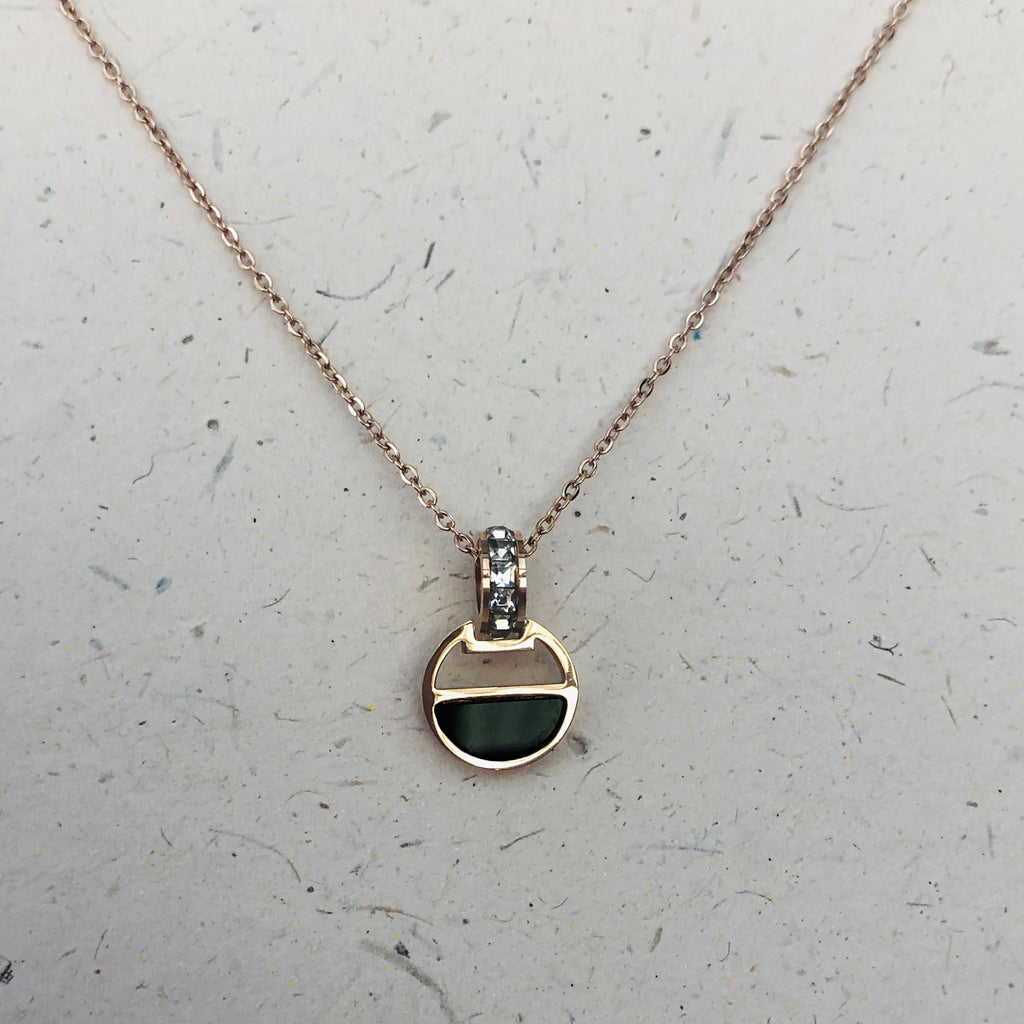 Rose Gold Crystal & Onyx Pendant