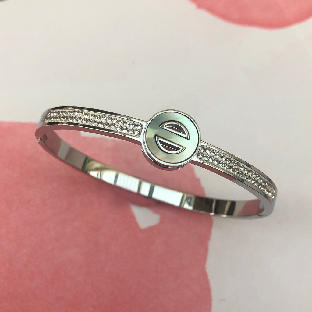 Crystal & Mother of Pearl Stainless Steel Bangle